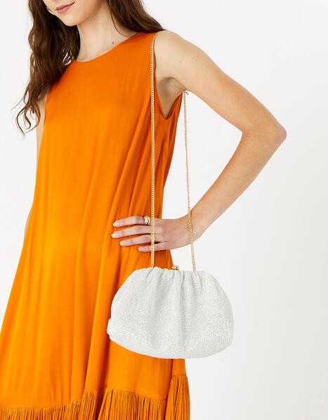 Beaded Shimmer Clutch Bag Natural, Natural (IVORY), large