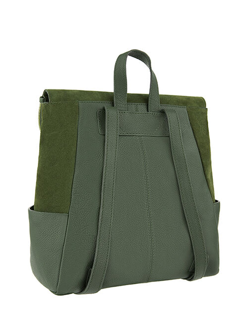 Isabel Zip Flap Leather Backpack, Green (KHAKI), large