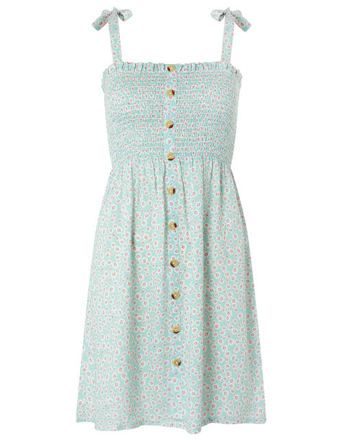 Daisy Print Button Dress, Blue (AQUA), large