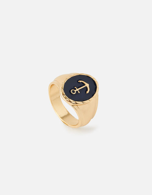 St Ives Anchor Signet Ring , Blue (BLUE), large
