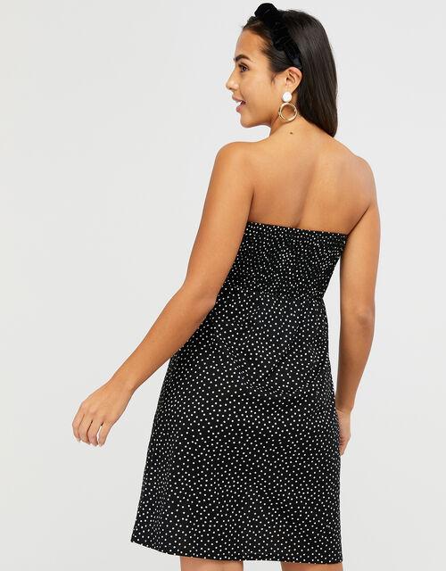 Polka Dot Jersey Bandeau Dress, Black (BLACK), large