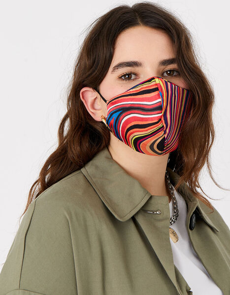 Stripe Face Covering in Pure Silk, , large