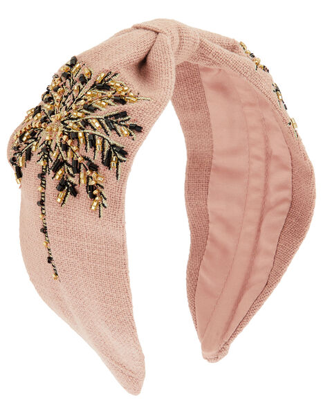 Beaded Palm Tree Wide Knot Headband, , large