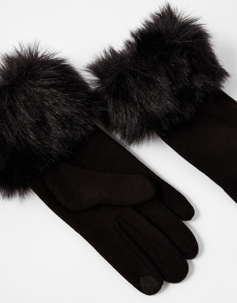 Faux Fur Cuff Touchscreen Gloves Black, Black (BLACK), large