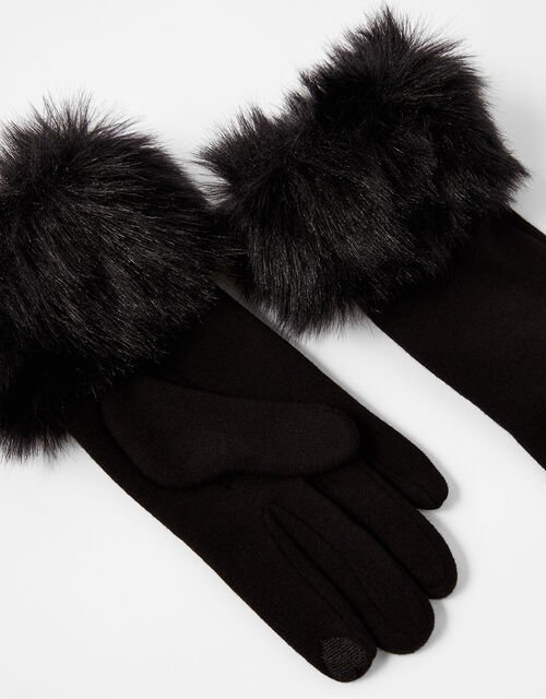 Faux Fur Cuff Touchscreen Gloves, Black (BLACK), large