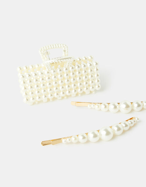 Pearly Hair Clip Set, , large