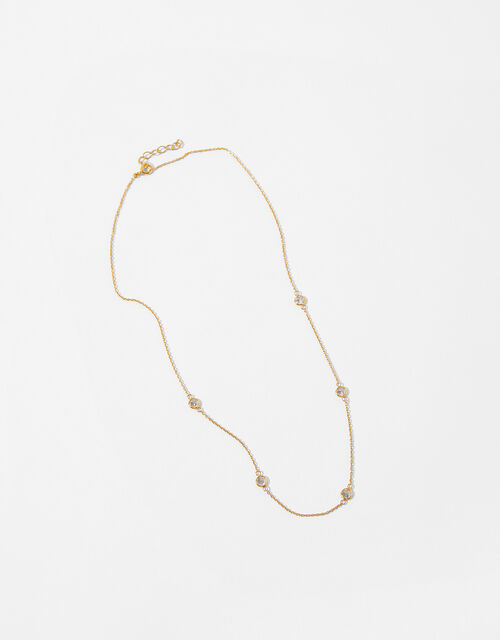 Gold-Plated Sparkle Station Collar Necklace, , large