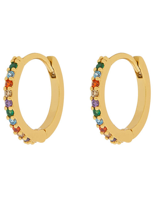 Gold-Plated Rainbow Gem Huggie Hoop Earrings, , large