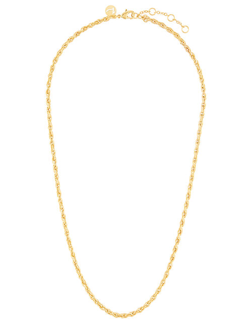 Gold-Plated Twisted Rope Chain Necklace, , large