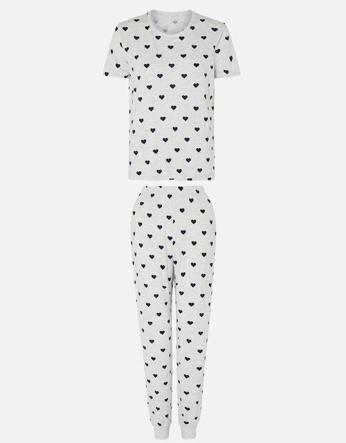 Heart Print Pyjama Set, Grey (GREY), large