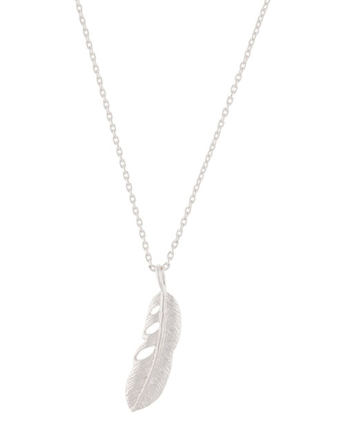 Sterling Silver Feather Pendant Necklace, , large