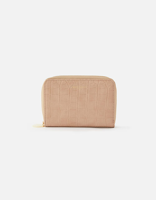 Croc Medium Zip Wallet, Nude (NUDE), large