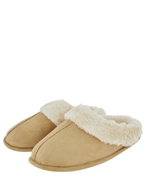 Suedette Mule Slippers, Tan (TAN), large