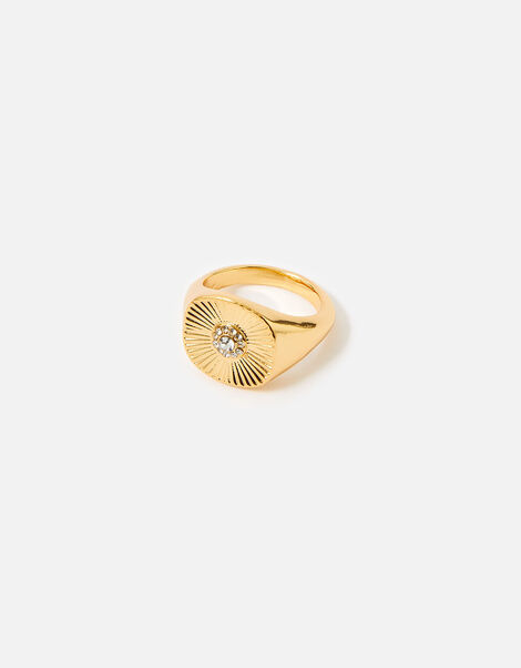 Reconnected Sparkle Signet Ring Gold, Gold (GOLD), large