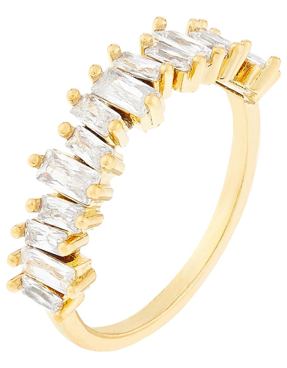Gold-Plated Baguette Gem Ring, Gold (GOLD), large