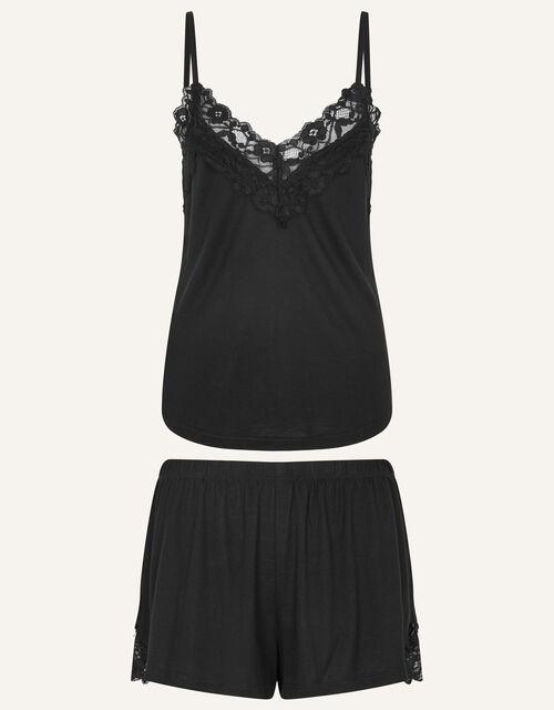 Lace Trim Pyjama Set, Black (BLACK), large