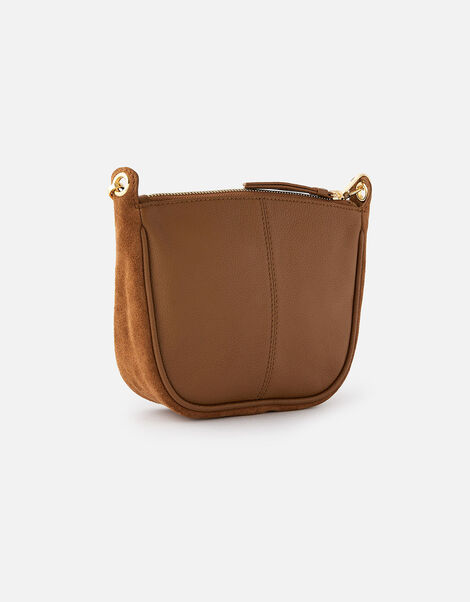 Curved Leather and Suede Cross-Body Bag, , large