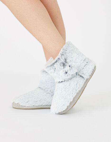 Fluffy Pom-Pom Slipper Boots Grey, Grey (GREY), large