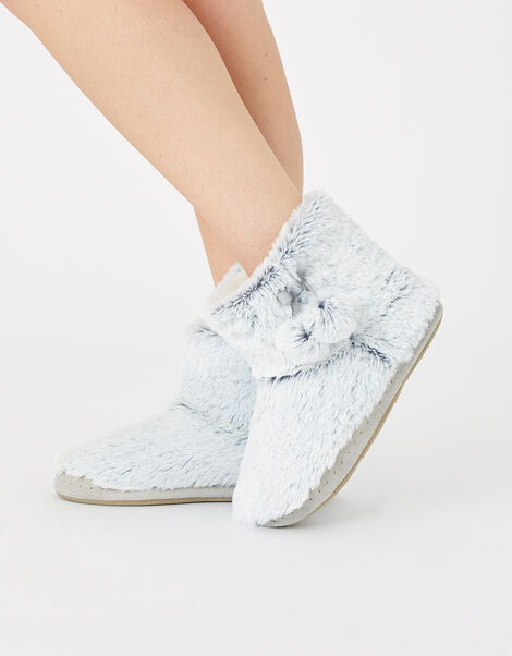 Fluffy Pom-Pom Slipper Boots Grey, Grey (GREY), large