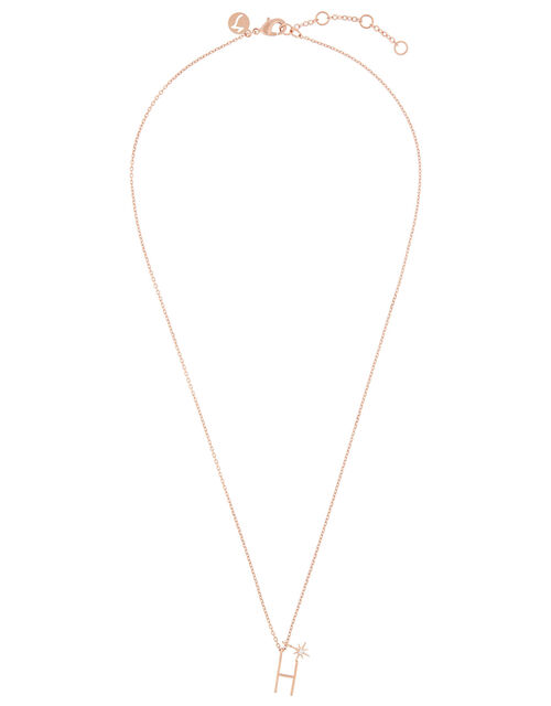 Rose Gold-Plated Initial Star Necklace - H, , large