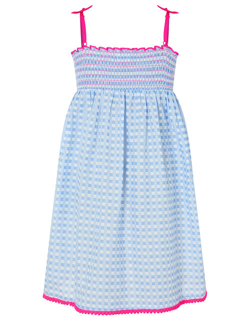Embroidered Cherry Checked Dress, Blue (BLUE), large