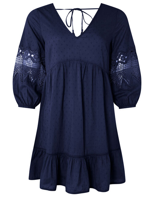 Lace Insert Smock Dress in Organic Cotton, Blue (NAVY), large