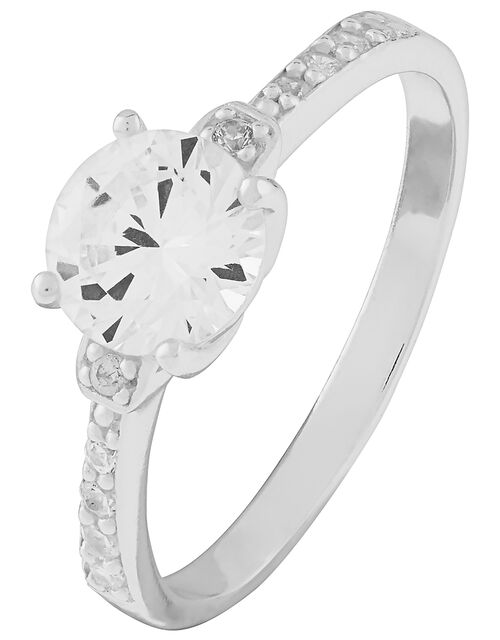 Amanda Sterling Silver Engagement Ring, White (ST CRYSTAL), large