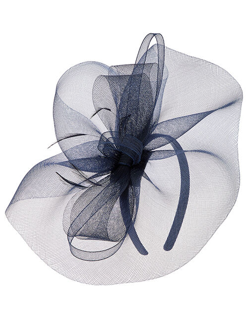 Mia Oversized Bow Fascinator, Blue (NAVY), large