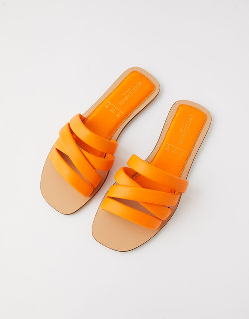 Sophie Strappy Leather Sliders, Orange (ORANGE), large