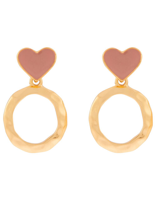 Enamel Heart Drop Earrings, , large