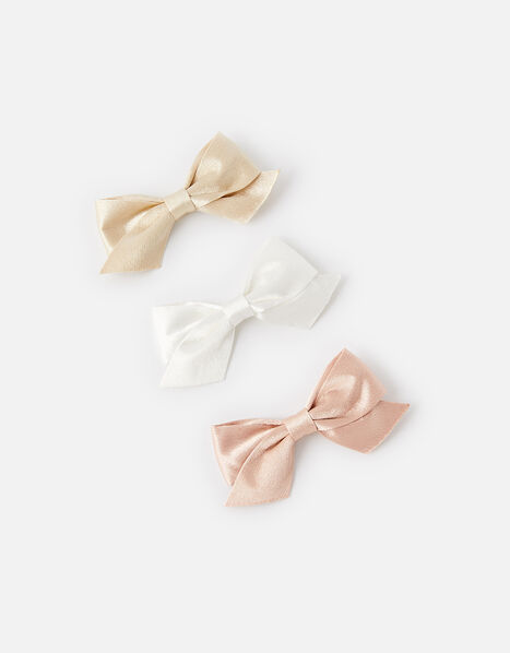 Satin Bow Hair Clips, , large