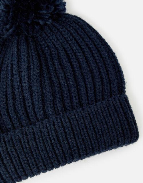 Chunky Knit Pom-Pom Beanie Hat, Blue (NAVY), large