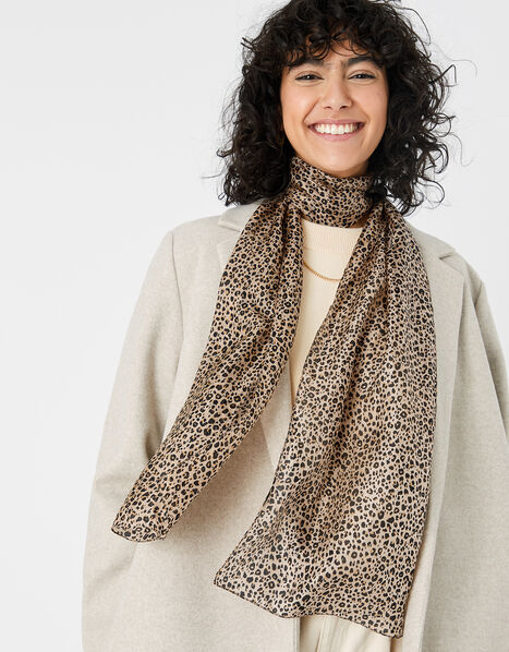 Leopard Print Scarf in Pure Silk, , large