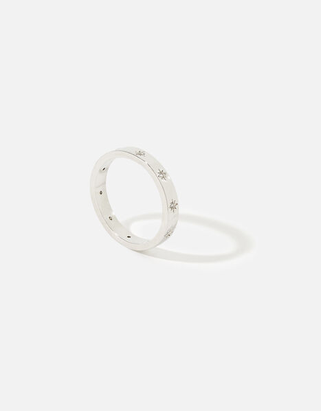Platinum-Plated Sparkle Star Band Ring Silver, Silver (SILVER), large