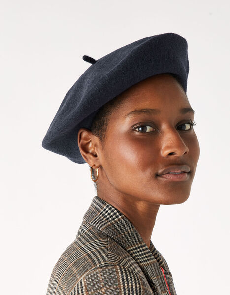 Beret Hat in Pure Wool Blue, Blue (NAVY), large