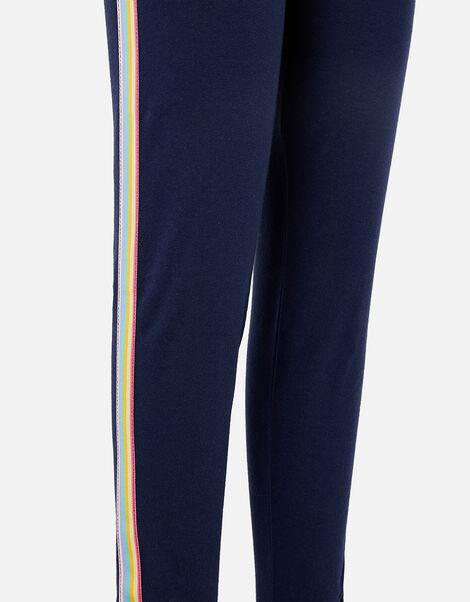 Girls Rainbow Stripe Leggings Blue, Blue (NAVY), large