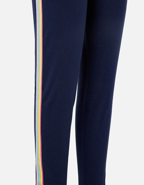 Rainbow Stripe Leggings, Blue (NAVY), large