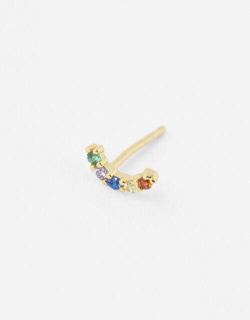 Gold-Plated Single Rainbow Stud Earring, , large