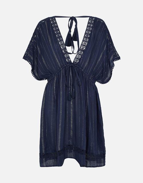 Stripe Kaftan in LENZING™ ECOVERO™, Blue (NAVY), large