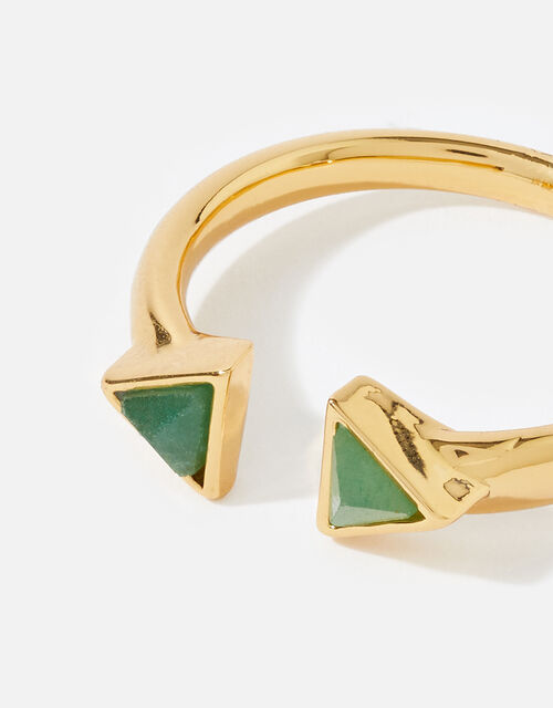 Gold-Plated Healing Stone Aventurine Pyramid Ring, Gold (GOLD), large