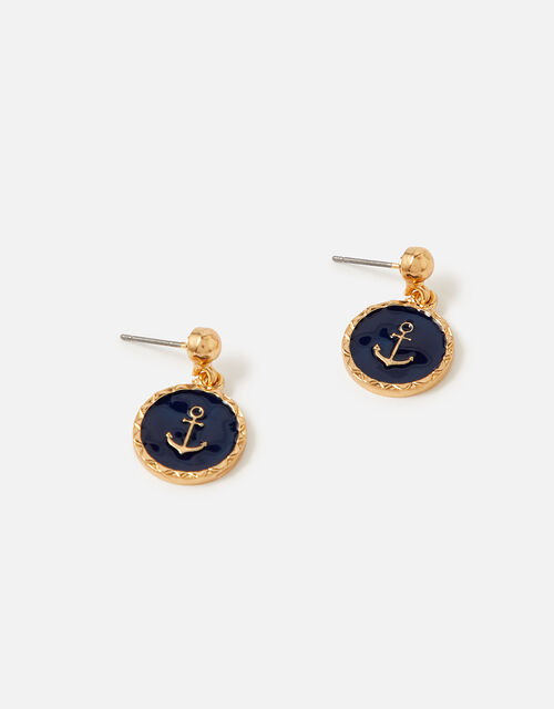 St Ives Enamel Anchor Short Drop Earrings, , large