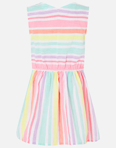 Rainbow Stripe Dress in Linen Blend Multi, Multi (BRIGHTS-MULTI), large