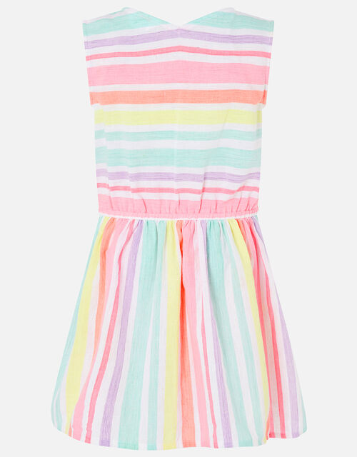 Rainbow Stripe Dress in Linen Blend, Multi (BRIGHTS-MULTI), large