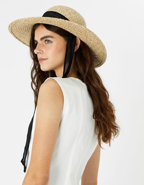 Chiffon Tie Trim Boater Hat, , large