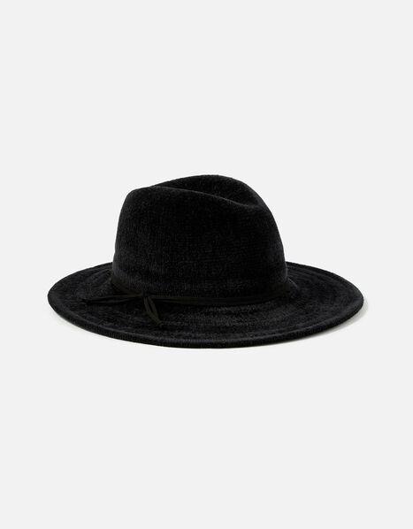 Chenille Packable Fedora Hat Black, Black (BLACK), large