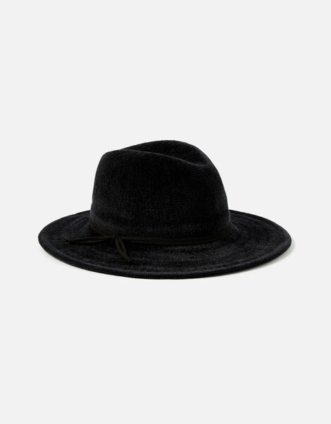 Chenille Packable Fedora Hat Black, Black (BLACK), large