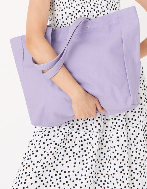 Canvas Shopper Bag Purple, Purple (LILAC), large