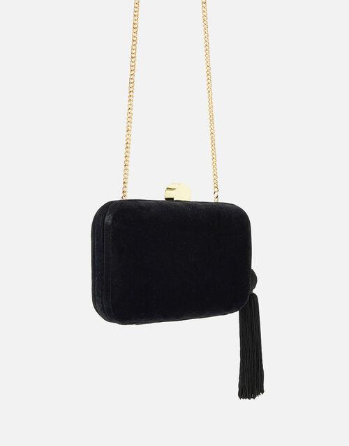 Velvet Hardcase Clutch Bag, Black (BLACK), large