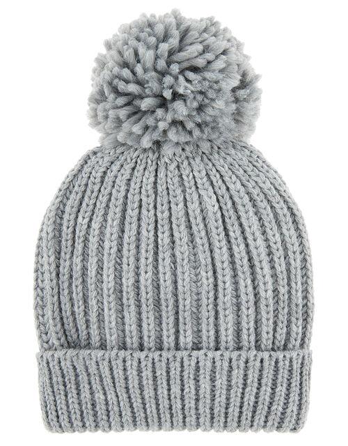 Chunky Knit Pom-Pom Beanie Hat, Grey (LIGHT GREY), large