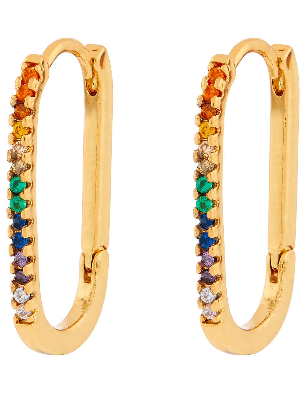 Rainbow Link Hoop Earrings, , large